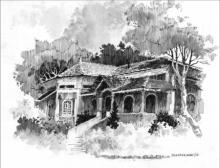 Pen Paintings | Drawing title Bungalow on Paper | Artist Sankara Babu