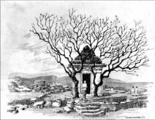 Scenic Pen Art Drawing title Mandir by artist Sankara Babu