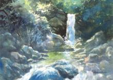 Scenic Watercolor Art Painting title The Waterfall by artist Sankara Babu