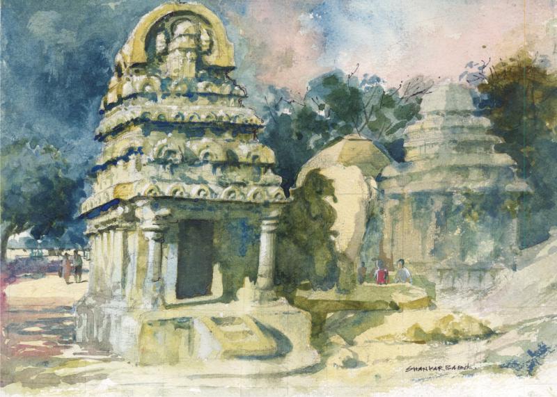 Temple Watercolor By Artist Sankara Babu Artzolo Com