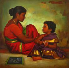 Figurative Oil Art Painting title 'Mother and Daughter' by artist S Elayaraja