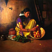 Figurative Oil Art Painting title 'Flower Making' by artist S Elayaraja