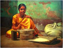 Figurative Oil Art Painting title 'Chakki' by artist S Elayaraja