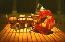 Figurative Oil Art Painting title 'Cooking' by artist S Elayaraja
