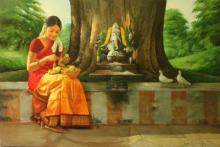 Figurative Oil Art Painting title 'Girl Making a Garland' by artist S Elayaraja