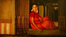 Figurative Oil Art Painting title 'Sitting at the Door Step' by artist S Elayaraja