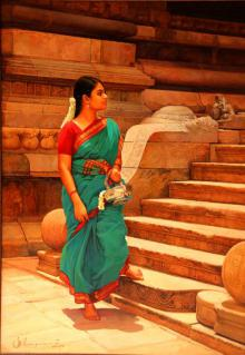 Figurative Oil Art Painting title 'Woman at the Temple Step' by artist S Elayaraja