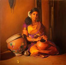 Figurative Oil Art Painting title 'Woman Holding The Pot' by artist S Elayaraja
