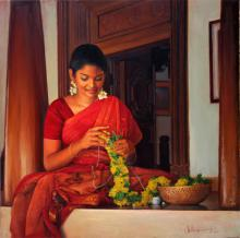 Figurative Oil Art Painting title 'Various Thoughts' by artist S Elayaraja