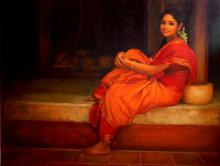 Figurative Oil Art Painting title 'Waiting' by artist S Elayaraja