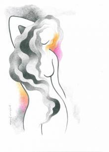 Sensual Siren | Drawing by artist Manoj Gujral |  | pencil | Canvas