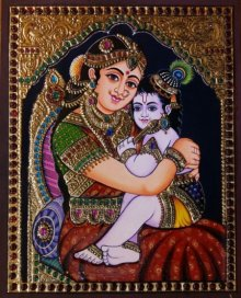 Traditional Indian art title Krishna Laddu Gopal with Yashoda on Plywood - Tanjore Paintings