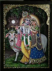 Traditional Indian art title Radha Krishna and Cow Tanjore Art on Plywood - Tanjore Paintings