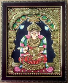 Religious Tribal Art Painting title 'Goddess Annapurna Tanjore Painting' by artist VANI VIJAY