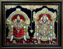 Traditional Indian art title Balaji and Padmavathi Tanjore Paintig on Plywood - Tanjore Paintings