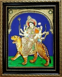 art, traditional, tanjore, plywood, religious, god, devi, durga