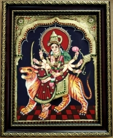 Traditional Indian art title Durga Tanjore Painting 1 on Plywood - Tanjore Paintings