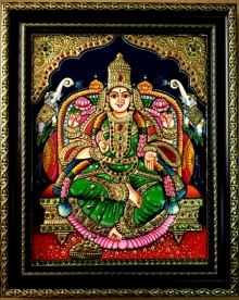 Traditional Indian art title Gajalakshmi Tanjore Painting 1 on Plywood - Tanjore Paintings
