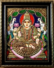 Traditional Indian art title Gajalakshmi Tanjore Painting 3 on Plywood - Tanjore Paintings