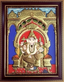 VANI VIJAY | Tanjore Traditional art title Ganesha Tanjore Painting on Plywood | Artist VANI VIJAY Gallery | ArtZolo.com