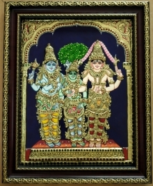 Traditional Indian art title Girija Kalyanam Tanjore Painting on Plywood - Tanjore Paintings