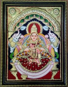 Religious Tribal Art Painting title 'Lakshmi Tanjore Painting' by artist VANI VIJAY