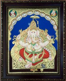 Religious Tribal Art Painting title 'Ganesha Antique Style Tanjore Painting' by artist VANI VIJAY