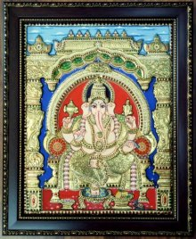 Traditional Indian art title Ganesha Tanjore Painting III on Plywood - Tanjore Paintings