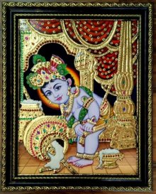 Traditional Indian art title Krishna Laddu Gopal Makhan Tanjore Art on Plywood - Tanjore Paintings