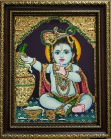 Traditional Indian art title Krishna Tanjore Painting 1 on Plywood - Tanjore Paintings