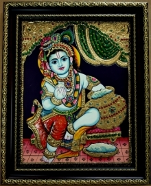 Traditional Indian art title Krishna Tanjore Painting 2 on Plywood - Tanjore Paintings