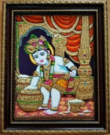 Traditional Indian art title Krishna Tanjore Painting 3 on Plywood - Tanjore Paintings