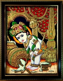 Traditional Indian art title Krishna Tanjore Painting 4 on Plywood - Tanjore Paintings