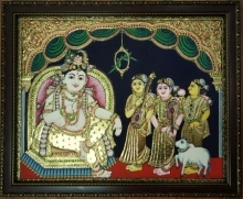Traditional Indian art title Krishna Tanjore Painting 7 on Plywood - Tanjore Paintings