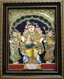 Traditional Indian art title Krishna With Gopikas Tanjore Painting on Plywood - Tanjore Paintings