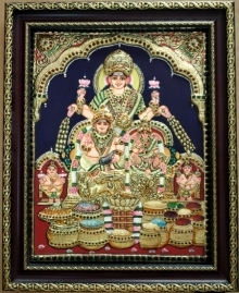 art, traditional, tanjore, plywood, religious, kuberalakshmi