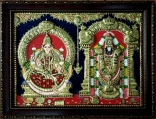 Traditional Indian art title Lakshmi And Balaji Tanjore Painting on Plywood - Tanjore Paintings