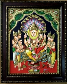 Traditional Indian art title Lakshmi Narasimha Tanjore Painting on Plywood - Tanjore Paintings