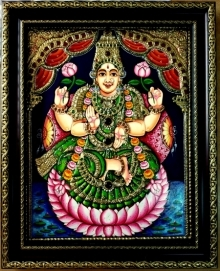 Traditional Indian art title Lakshmi On Lotus Tanjore Painting on Plywood - Tanjore Paintings