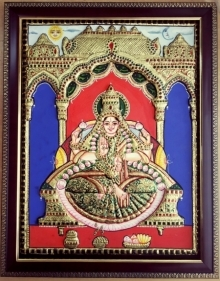 art, traditional, tanjore, plywood, religious, lakshmi