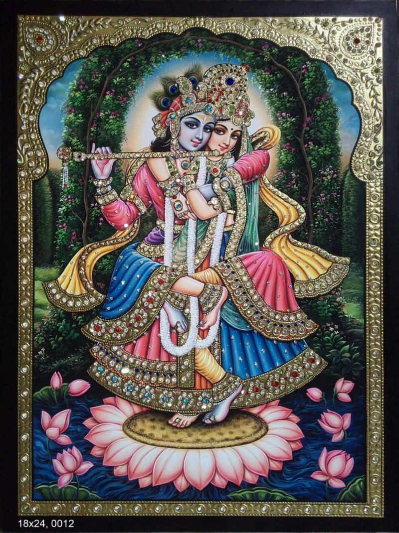 radha krishna tanjore painting i by vani vijay tanjore paintings