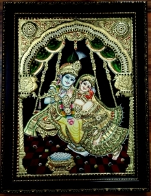 Traditional Indian art title Radha Krishna Tanjore Painting 3 on Plywood - Tanjore Paintings