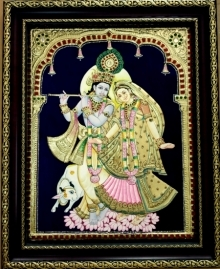 Traditional Indian art title Radha Krishna With Cow Tanjore Painting on Plywood - Tanjore Paintings
