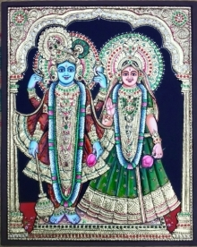 Traditional Indian art title Radha Krishna Tanjore Painting on Plywood - Tanjore Paintings