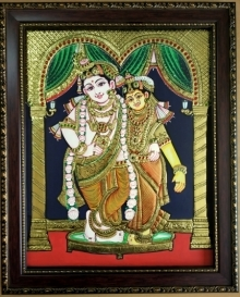 Traditional Indian art title Radha krishna Tanjore Painting 1 on Plywood - Tanjore Paintings