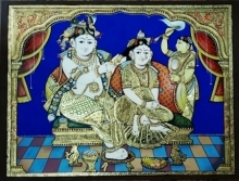 Traditional Indian art title Radha krishna Tanjore Painting 2 on Plywood - Tanjore Paintings