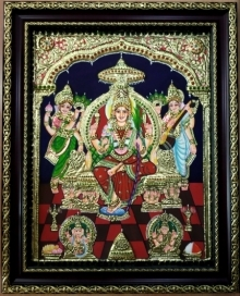 Traditional Indian art title Rajarajeshwari Tanjore Painting 1 on Plywood - Tanjore Paintings