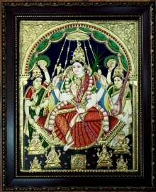 art, traditional, tanjore, plywood, religious, rajarajeshwari