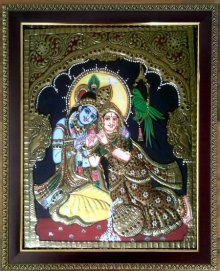 Traditional Indian art title Radha Krishna Tanjore Painting III on Plywood - Tanjore Paintings