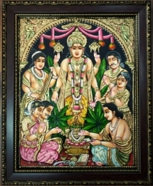 Traditional Indian art title Satynarayanaswamy Tanjore Painting on Plywood - Tanjore Paintings